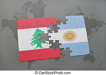 puzzle with the national flag of lebanon and argentina on a world map background.