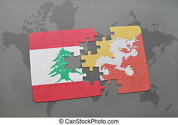 puzzle with the national flag of lebanon and bhutan on a world map background.