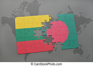 puzzle with the national flag of lithuania and bangladesh on a world map