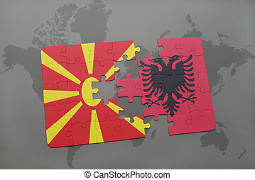 puzzle with the national flag of macedonia and albania on a world map background.