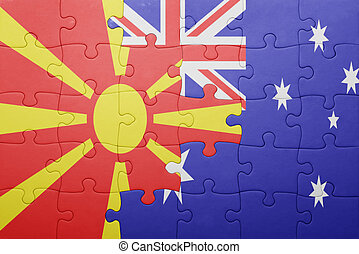 puzzle with the national flag of macedonia and australia