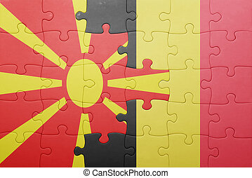 puzzle with the national flag of macedonia and belgium