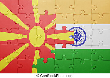 puzzle with the national flag of macedonia and india