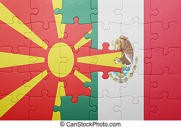 puzzle with the national flag of macedonia and mexico
