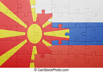 puzzle with the national flag of macedonia and russia