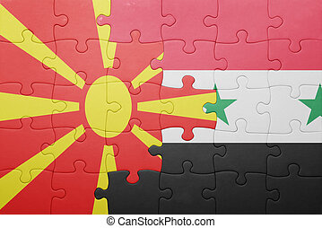 puzzle with the national flag of macedonia and syria