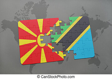 puzzle with the national flag of macedonia and tanzania on a world map