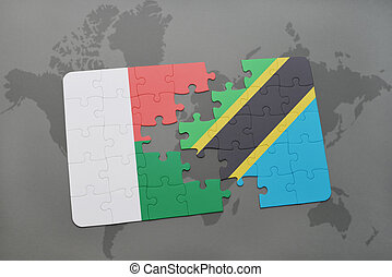 puzzle with the national flag of madagascar and tanzania on a world map