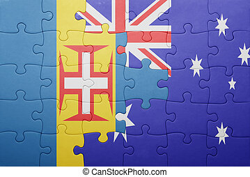 puzzle with the national flag of madeira and australia
