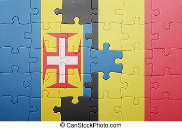 puzzle with the national flag of madeira and belgium