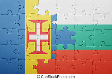 puzzle with the national flag of madeira and bulgaria