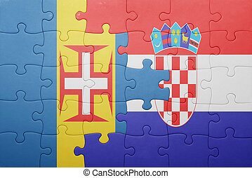 puzzle with the national flag of madeira and croatia