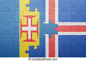 puzzle with the national flag of madeira and iceland