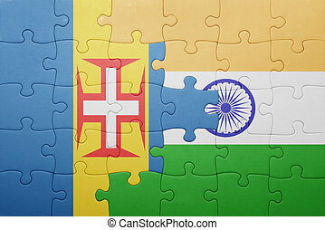 puzzle with the national flag of madeira and india