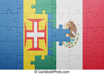 puzzle with the national flag of madeira and mexico