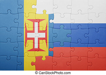 puzzle with the national flag of madeira and russia
