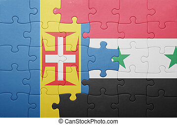 puzzle with the national flag of madeira and syria