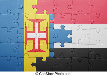 puzzle with the national flag of madeira and yemen