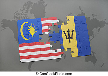 puzzle with the national flag of malaysia and barbados on a world map background.