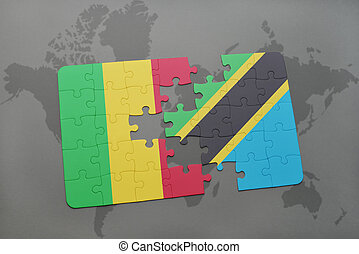 puzzle with the national flag of mali and tanzania on a world map