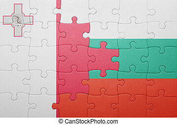 puzzle with the national flag of malta and bulgaria