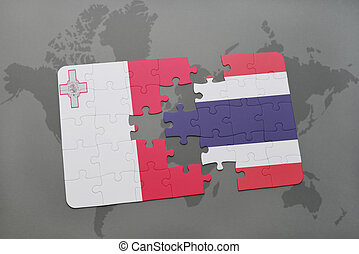puzzle with the national flag of malta and thailand on a world map