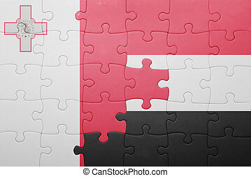 puzzle with the national flag of malta and yemen