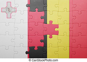 puzzle with the national flag of malta and belgium
