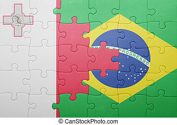 puzzle with the national flag of malta and brazil