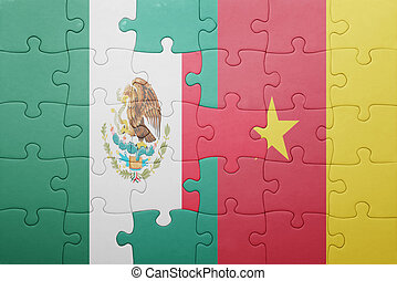 puzzle with the national flag of mexico and cameroon