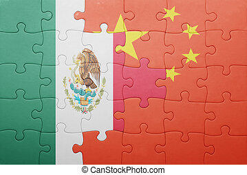 puzzle with the national flag of mexico and china