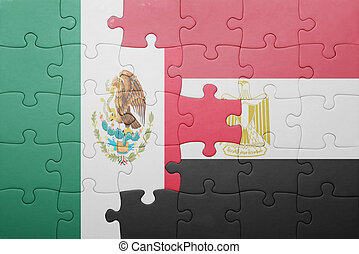 puzzle with the national flag of mexico and egypt