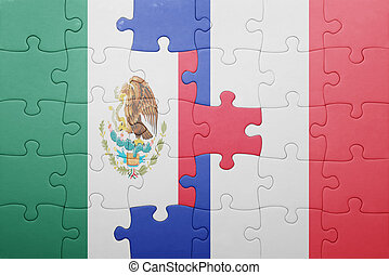 puzzle with the national flag of mexico and france