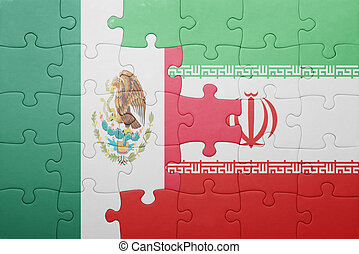 puzzle with the national flag of mexico and iran