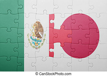 puzzle with the national flag of mexico and japan