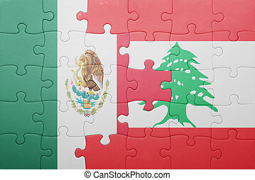 puzzle with the national flag of mexico and lebanon