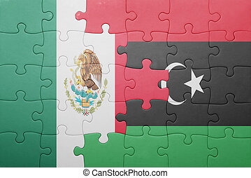 puzzle with the national flag of mexico and libya