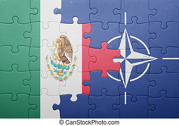 puzzle with the national flag of mexico and nato