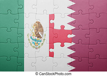 puzzle with the national flag of mexico and qatar