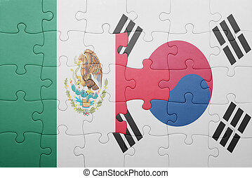 puzzle with the national flag of mexico and south korea