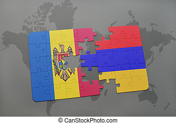 puzzle with the national flag of moldova and armenia on a world map background.