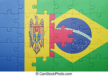 puzzle with the national flag of moldova and brazil