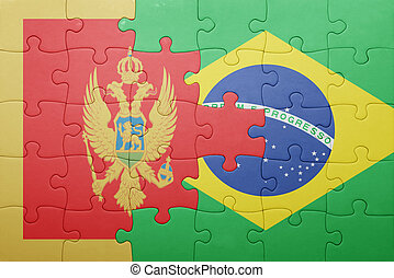 puzzle with the national flag of montenegro and brazil