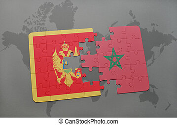 puzzle with the national flag of montenegro and morocco on a world map