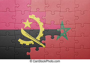 puzzle with the national flag of morocco and angola .