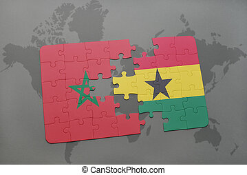 puzzle with the national flag of morocco and ghana on a world map