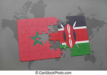 puzzle with the national flag of morocco and kenya on a world map
