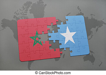 puzzle with the national flag of morocco and somalia on a world map