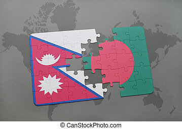 puzzle with the national flag of nepal and bangladesh on a world map background.
