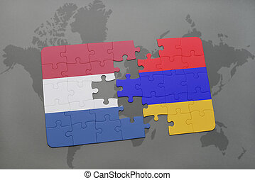 puzzle with the national flag of netherlands and armenia on a world map background.